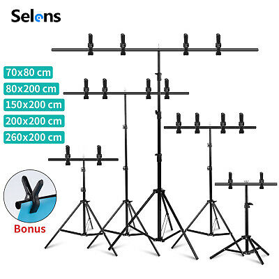 UK Backdrop Stand T Metal PVC Background Photography Support System + Clamp