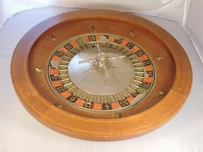 Antique Wooden Roulette Gambling Wheel Traveling Size