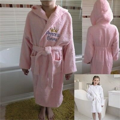 Personalised Towelling Robe For Girl Princess Robe Embroidered With Crown Girl