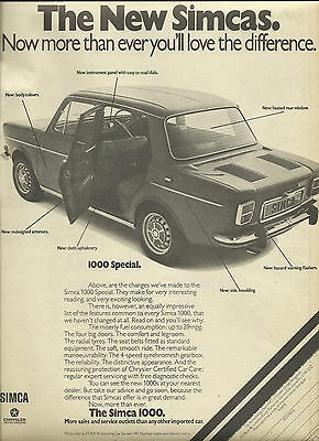 SIMCA 1000 SPECIAL original advert from a leading 1975 UK magazine