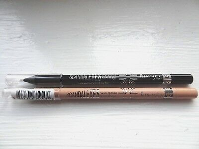 Rimmel Scandaleyes Waterproof Kohl Kajal Pencil BLACK NUDE BROWN SPARKLING NEW
