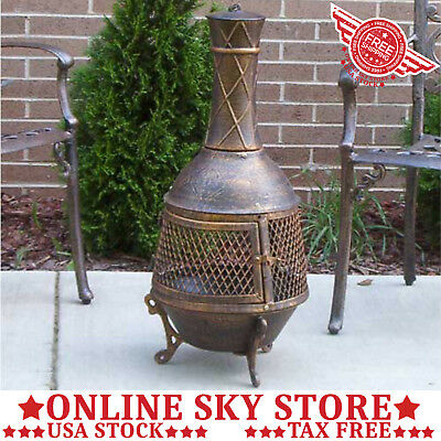 Outdoor Patio Chiminea Rustic Garden Wood Fireplace Fire Pit Place Log  Heater