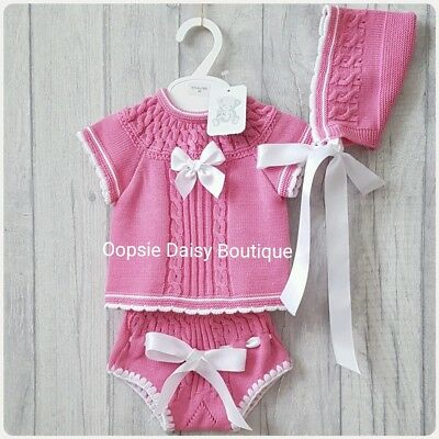 Baby Girls Gorgeous Pink Spanish Knitted 3 Piece Ribbon Jam Suit & Bonnet ☆