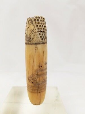 Antique Scrimshaw Etui Case with Thimble Ship Naked Woman Lighthouse