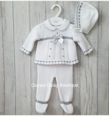 Babys Gorgeous White /Grey Trim Spanish Knitted 3 Piece Suit with Bonnet ☆