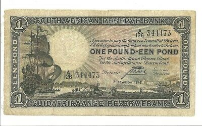 1942 South Africa 1 Pound Currency Note 84E Paper Money One Pound EEN Pond
