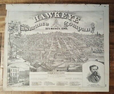 Antique Engravings - CITY OF DES MOINES, IOWA - Andreas Atlas Co. 1875