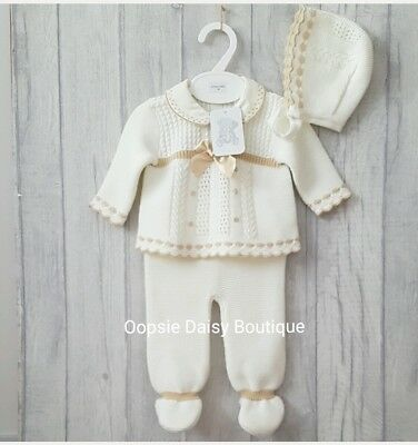 Babys Gorgeous Ivory Cream/Camel Trim Spanish Knitted 3 Piece Suit with Bonnet ☆