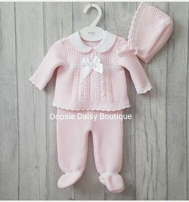 Babys Gorgeous Pink Ribbon Spanish Knitted 3 Piece Suit with Bonnet ☆