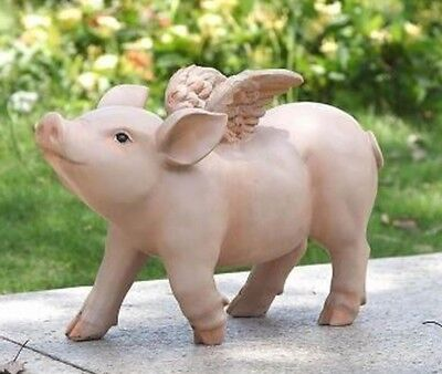 "PIG ""When Pigs Fly"" w/ Wings - Realistic Life Like Figurine Statue Home Garden"
