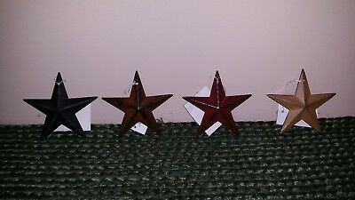 "Set of 4 Metal 3.5"" Barn Stars - Ornaments, Black, Rusty, Burgundy, Mustard"