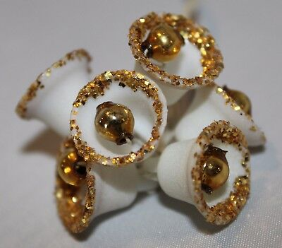 Vtg Sugared Mica Glitter Bells Gold Mercury Balls ~ 6pcs Package Ties, Corsage