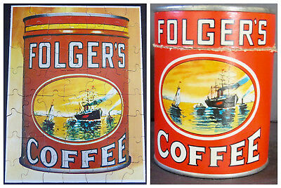 """Vintage FOLGER'S COFFEE Jigsaw Puzzle - Original """"COFFEE CAN"""" Container COMPLETE"""