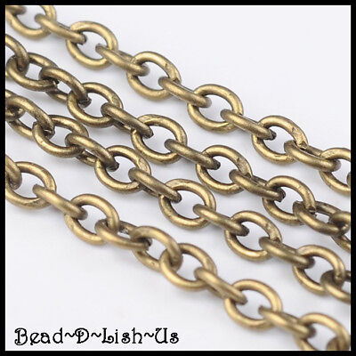 ANTIQUE BRASS Iron Cross Cable Chain 3x2mm Pb & Ni Free DIY - SOLD PER 100CM