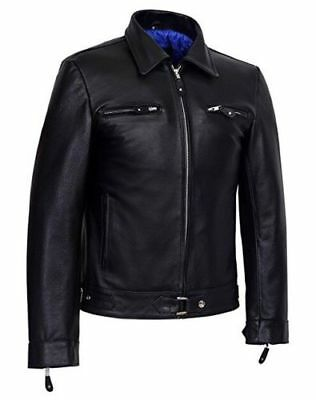 Men's Black CowHide 5074 Classic Biker Style smart fitting Real leather jacket