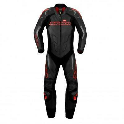 SPIDI S/S Wind Pro One 1 Piece Motorcycle Racing Leathers Race Suit (Black/Red)