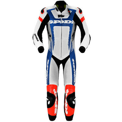 SPIDI Warrior Wind Pro One 1 Piece Motorcycle Leather Race Suit (White/Blue/Red)