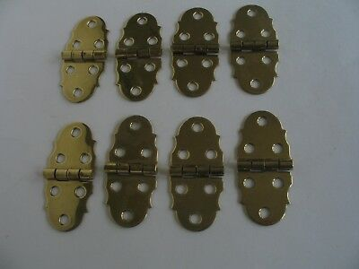 Solid Polished Brass Decorative Box Hinges 4 Pair NOS
