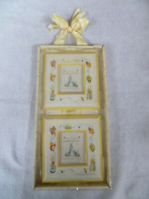 Peter Rabbit Beatrix Potter Yellow Double Hanging Picture Frames *New*