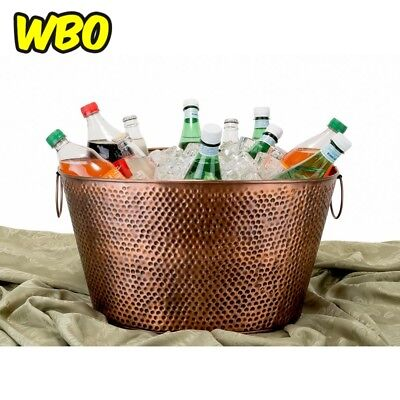 Oval Antique Hammered Copper Party Tub 7.9 Gal Outdoor Ice Bucket Wine Storage