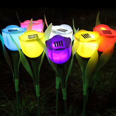 Outdoor Solar Power Tulip Flower LED Yard Garden Path Way Landscape Lamp Nice