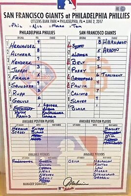Austin Slater Mlb Debut + Ty Blach First Shutout Game-Used Lineup Card 6/2/2017