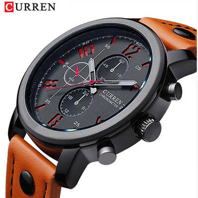 CURREN Men Watch Military Sports Fashion Wristwatch Montre Homme Leather Band