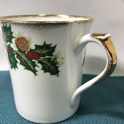 Queens Rosina Yuletide Christmas Mug Gold Trim Handle Made in England