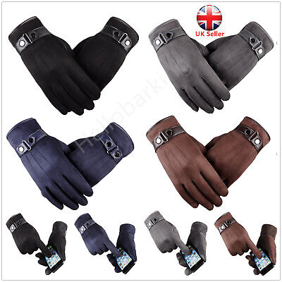 Mens Winter Warm Gloves Real Leather Thicken Thermal Gloves Waterproof Windproof