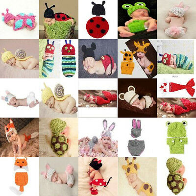 Fashion Knitted Animal Pattern Outfits Costume Set For Unisex Newborn Baby