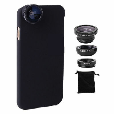 4in1 Fisheye+Macro+Wide Angle Camera Phone Lens+Back Case Cover For iPhone X