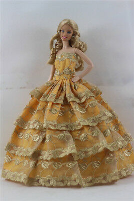 Fashion Handmade Princess Dress Wedding Clothes Gown for Barbie Doll b26