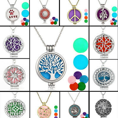 FX- Hollow Aromatherapy Essential Oil Diffuser Perfume Locket Pendant Necklace C