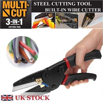 Multi Cut 3 In 1 Pliers Power Crimping Cutting Tool w/ Built-In Wire Cutter