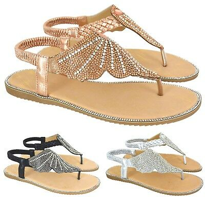00b4606af Ladies Womens Flat Diamante Slingback Toe Post Summer Beach Hoilday Sandals  Size