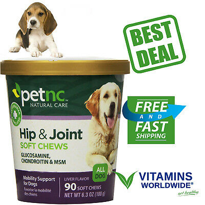 HIP AND JOINT CHEWS For Dogs PetNC Natural Care Glucosamine MSM Supplement 90 Cn
