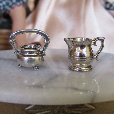 Vtg Dollhouse STERLING SILVER TEA SET Miniature Dishes Sugar Bowl Creamer Solid
