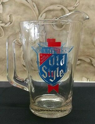 vintage heileman's old style beer glass pitcher