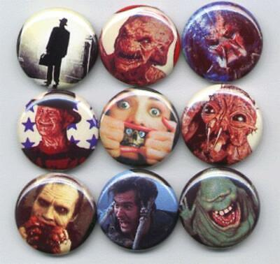 Horror Movie Pinback Buttons set of 9 Pins
