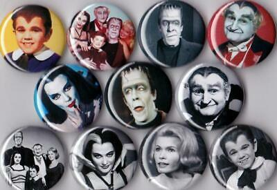 Munsters Pinback Buttons set of 11 Pins