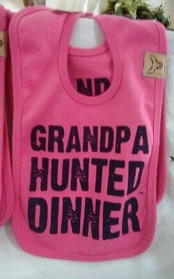 "Button Buck Baby Feeding Bib ""GRANDPA HUNTED DINNER - Pink NWT GIRL BIB HTF 💗💗"