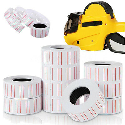 10 Rolls Price Label Paper Tag Sticker MX-5500 Labeller Gun White Red Line Lxm