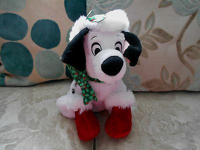 CHRISTMAS 101 DALMATIANS character beanie soft toy DISNEY STORE Santa hat, holly