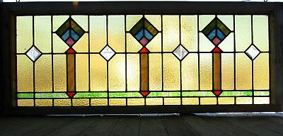 Antique Deco Style Stained Glass Window With Bevels