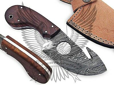 Custom Handmade Damascus Steel Gut Hook Skinner Knife Twist Pattern 7.50""