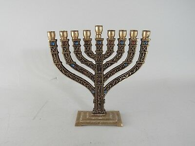 "Vintage Small Cast Brass Menorah 6"" Tall"
