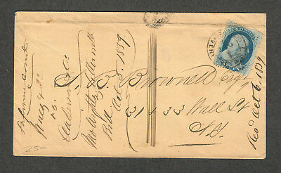 US Sc#24 w/ US Mail City Delivery Cancel 1859 File Fold Through Corner Of Stamp