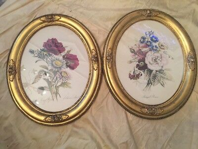 Pair Old Vintage Oval Gilt Oak Framed Bengal Roses Lithographs Shabby & Chic