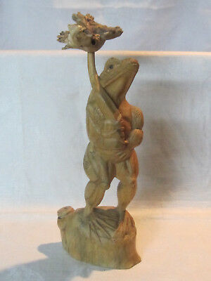 Hand carved burl parasite wood carving figurine of tall standing frog & mushroom