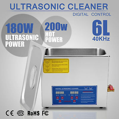 Stainless Steel 6 L Liter Industry Heated Ultrasonic Cleaner Heater w/Timer